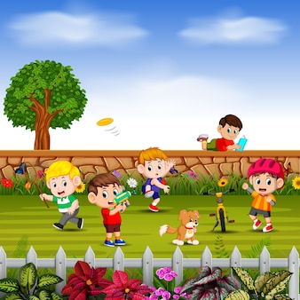Boys do sport and play together in yard
