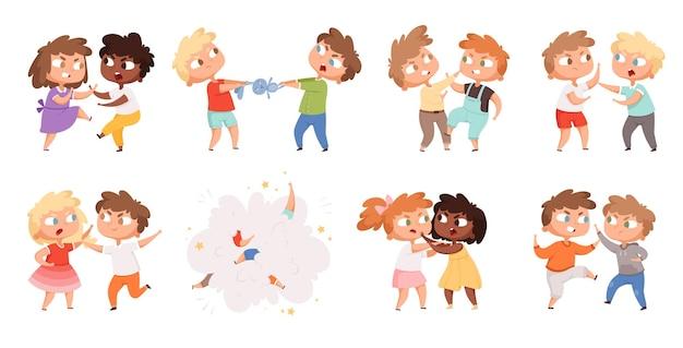 戦う少年たち。遊び場の漫画のキャラクターセットで罰する学校のいじめっ子怒っている子供たち。イラスト怒っている男の子と女の子、いじめの問題、行動の攻撃性