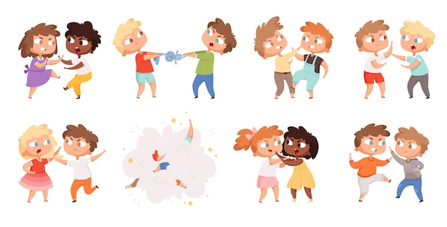 Boys fighting. school bully angry kids punishing in playground cartoon characters set. illustration angry boy and girl, bullying problem, behavior aggression