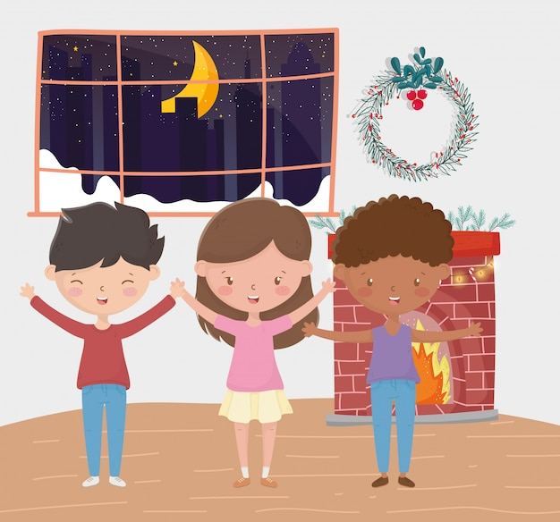 Boys and girl chimney wreath room night merry christmas