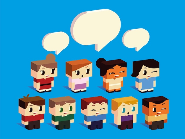 Boys and girls characters cartoon talking speech bubbles, isometric style vector illustration