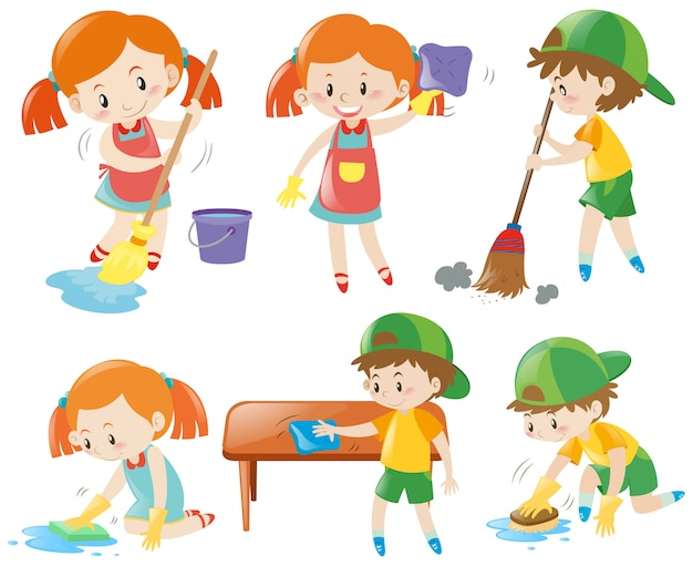 Boys and girls doing chores