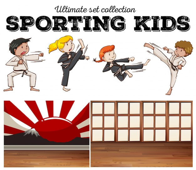 Boys and girls doing martial arts illustration