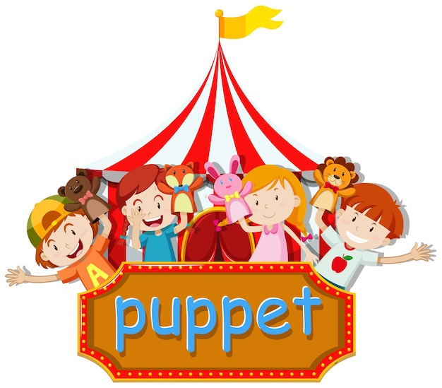 Boys and girls playing animal puppets