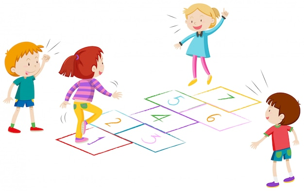 Boys and girls playing hopscotch