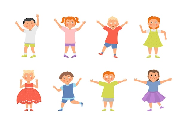 Boys and girls playing together happily illustration