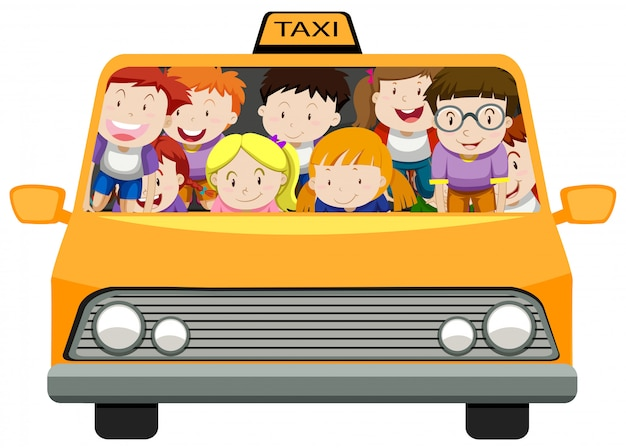 Boys and girls riding in taxi