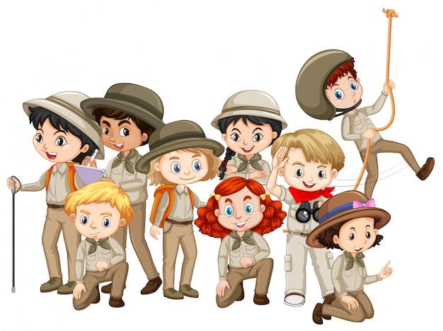 Boys and girls in scout uniform