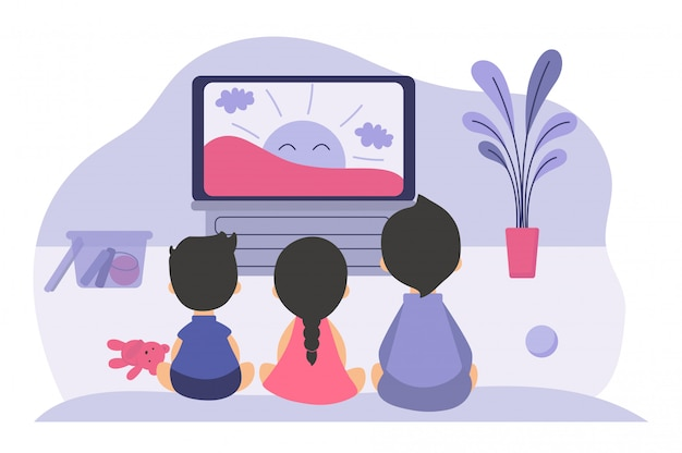 Boys and girls sitting at tv screen