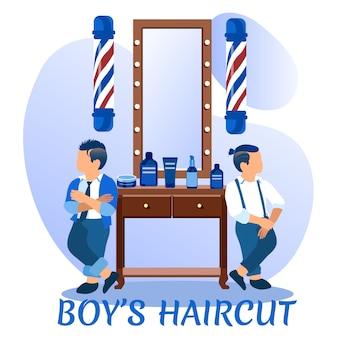 Boys haircut banner. couple of hipster children