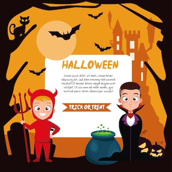 Boys in halloween vampire and devil costume with banner design, holiday and scary theme