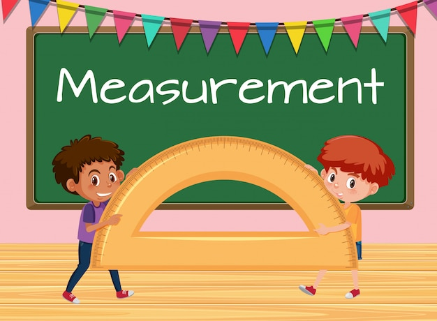 Boys holding protractor in classroom background