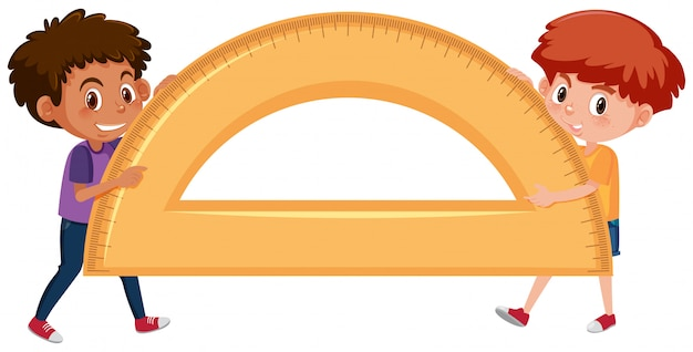 Boys holding protractor on white background