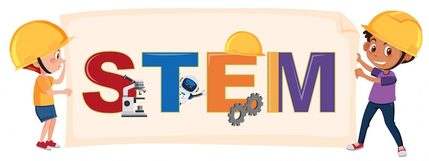 Boys holding stem logo