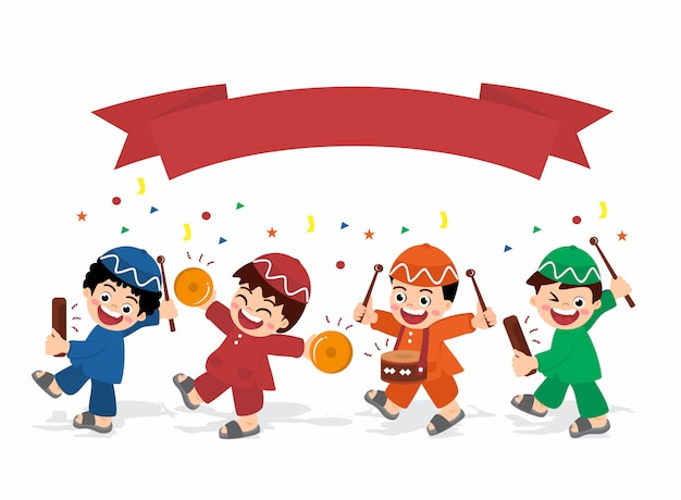 Boys kids are happy playing instrument to welcoming eid and ramadhan template clipart