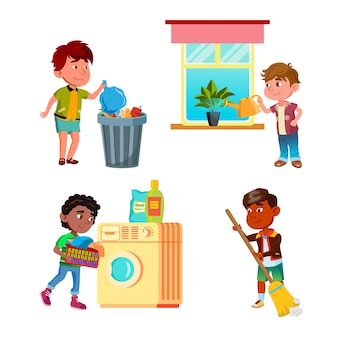 Boys kids cleaning and doing housework set vector