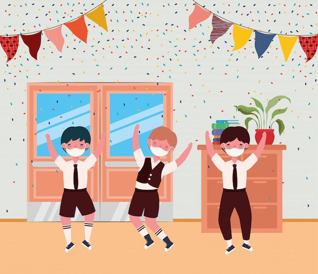 Boys kids with masks in classroom