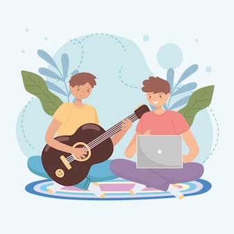 기타를 배우는 소년들