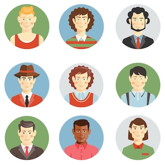 Boys and men faces icons in flat style showing different ages  hairstyles