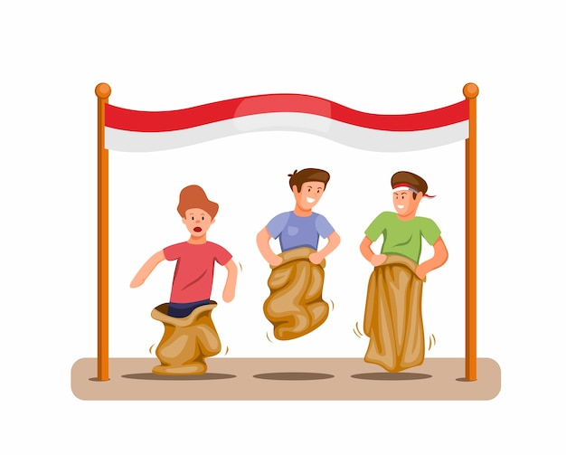 Boys play sack race competition to celebration indonesian independence day in 17 august concept in cartoon illustration vector isolated