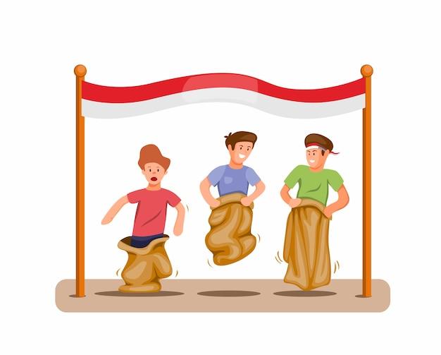 Мальчики играют в соревнованиях по гонке на мешках в честь празднования дня независимости индонезии 17 августа, концепция в векторе иллюстрации шаржа