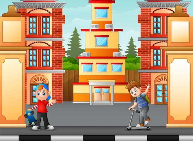 Boys playing on the sidewalk