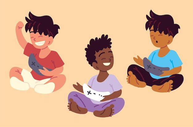 Мальчики играют в видеоигры