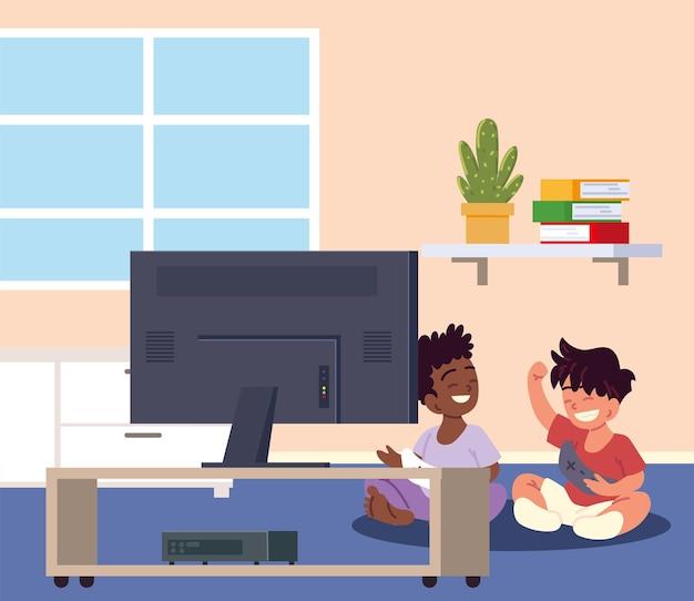 비디오 게임을 하는 소년들
