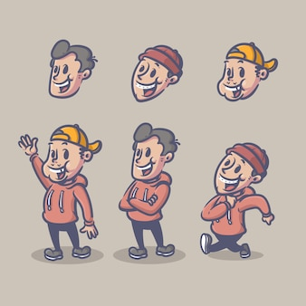 Boys retro character set editable