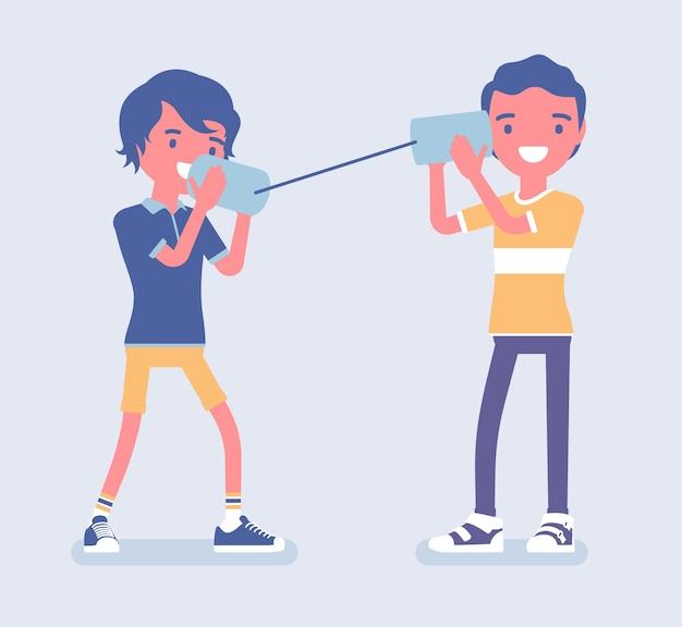 男の子はブリキ缶電話で話します。機械式ストリングフォンで遊んでいる2人の友人、自作の音声送信デバイス、子供たちは楽しく話す、科学プロジェクト。ベクトルフラットスタイルの漫画イラスト