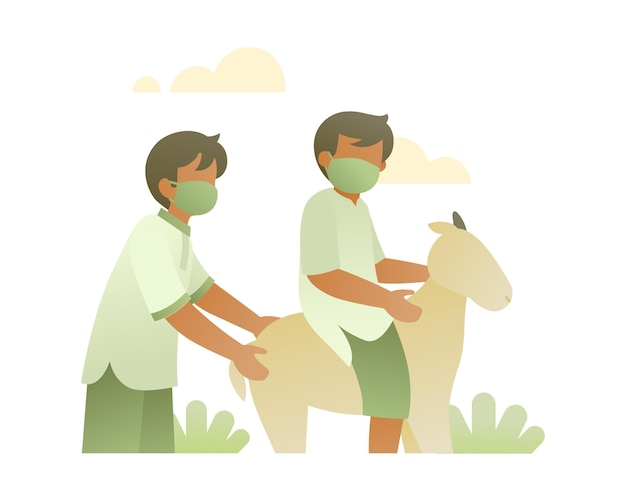 Boys wear face mask and playing with goat illustration