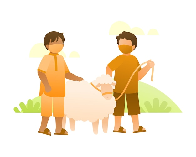Boys wear a face mask and playing with sheep illustration