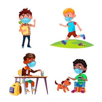 保護フェイシャルマスクセットベクトルを身に着けている男の子。学校や食料品の買い物で勉強し、公園で走り、犬のペットと遊ぶ顔のマスクを持つ男の子の子供たち。キャラクターフラット漫画イラスト