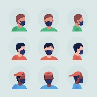 검은색 마스크를 가진 소년들은 반평면 컬러 벡터 캐릭터 아바타 세트를 가지고 있습니다. 전면 및 측면 보기에서 인공 호흡기와 초상화입니다. 그래픽 디자인 및 애니메이션 팩을 위한 격리된 현대 만화 스타일 그림