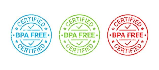 Bpa無料バッジ、スタンプ。無毒のプラスチックエンブレム。エコ包装ステッカー。ベクトルイラスト。