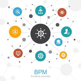 アイコン付きのbpmトレンディなwebコンセプト。ビジネス、プロセス、管理、組織などのアイコンが含まれています