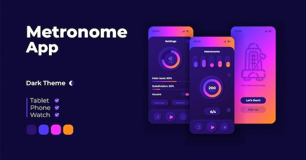 メトロノームアプリケーション漫画スマートフォンインターフェイステンプレートセット。モバイルアプリの画面ページのナイトモードのデザイン。アプリケーションのボリュームおよびbpmパラメータui。フラットな文字の電話ディスプレイ。