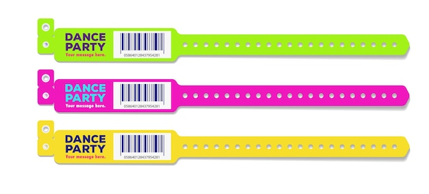 Bracelet dance party event access different color for id fan zone or vip party entrance concert