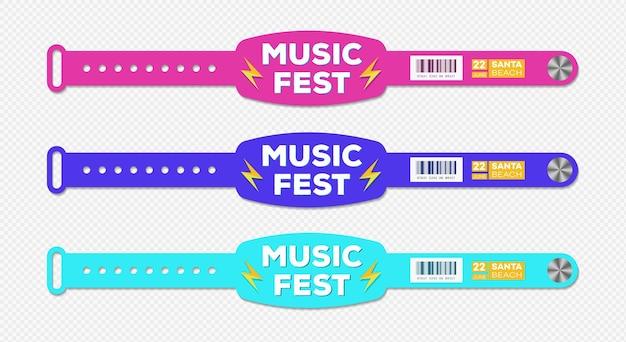 팔찌 음악 축제 이벤트 액세스 벡터 템플릿 id 팬 영역 또는 vip 파티에 대한 다른 색상