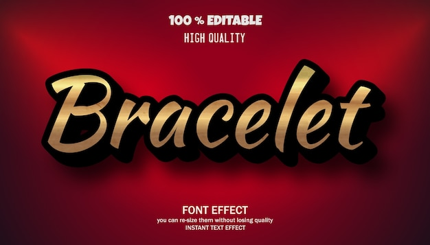 Bracelet text effect, editable font