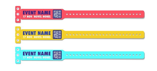 Bracelet vector template event access different color set for id fan zone or vip party entrance