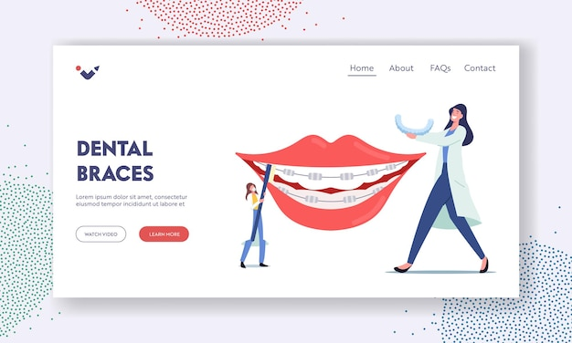 Brackets installation for teeth alignment landing page template. tiny dentist doctors characters install dental braces to huge patient teeth, treatment, dentistry. cartoon people vector illustration