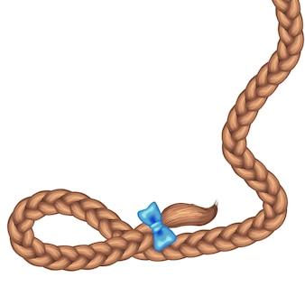 Braid hair and blue bow
