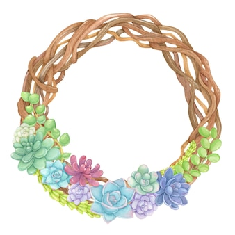 Braided wreath with succulents