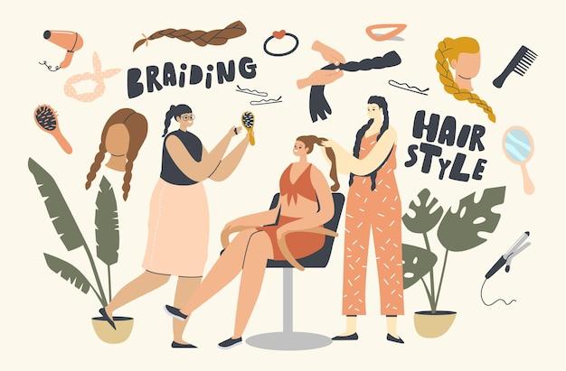 Плетение, концепция укладки волос. женские персонажи посещают профессиональный салон красоты, чтобы сделать прическу. молодая женщина заплетает на голову клиента в месте ухода. мультфильм люди векторные иллюстрации