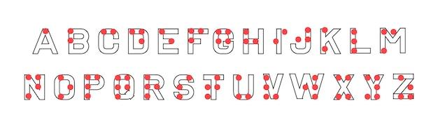 点字アルファベット。目の不自由な人が使用する触覚書記体系。