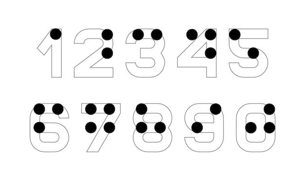 Numeri dell'alfabeto braille. versione inglese dell'alfabeto braille. numeri per disabili visivi non vedenti
