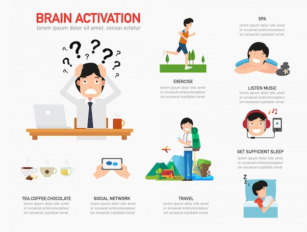 Brain activation infographic illustration vector