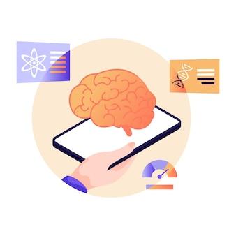 神経サービスの脳とモバイルフラットイラスト