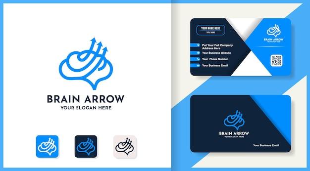 Brain arrow logo design use line concept and business card